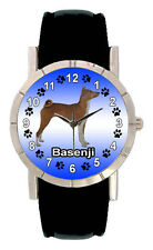 Basenji Dog Mens Ladies Genuine Leather Band Water Resistant Wrist Watch SA1236