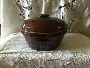 Vtg Marcrest Daisy Dot Ovenproof Stoneware Brown Large Bowl & Lid EUC