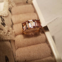 Stunning Anahi Ametrine Trilogy Ring in 14K Gold Over Sterling Silver 'L'