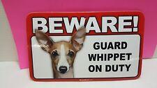 Whippet -Beware Guard Dog Sign,Scandical,St 889 , Laminated,Free Ship