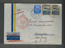1936 Germany Graf Zeppelin Airmail Cover to Irvington NJ USA