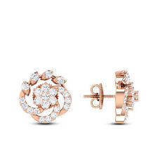 Pave 0.50 Cts Natural Diamonds Stud Earrings In Solid Certified 14K Rose Gold