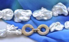 "Baroque Reborn Keshi Pearl Necklace P7063 Huge 19"" 30mm White"