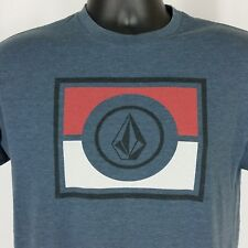 VOLCOM Mens Medium Graphic Logo T Shirt Blue Red White Short Sleeve Tee