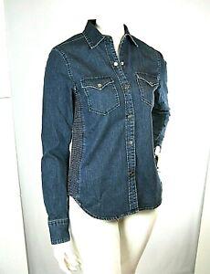 Camicia in Jeans Donna ATOS LOMBARDINI Italy H210 Maniche Lunghe Blu Tg M