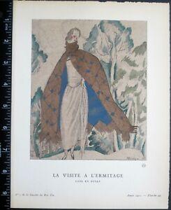 Gazette du bon ton,Art deco pochoir print,P.Mourgue.La visite al'ermitage,1921