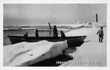 LOOKING FOR SEAL HUNTING ALASKA POSTCARD (c. 1930s)