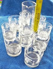 Telephone History glassware set 9 Old Fashioned glasses 24 ounce pitcher