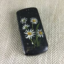 Antique snuff box tobacco tin tole ware hand painted edelweiss allemand suisse vtg