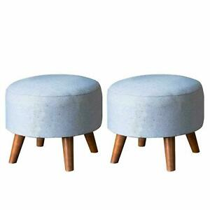 Set of 2 Round Cotton Canvas Pouf Pouffe Ottoman Footstool Wooden leg Furniture