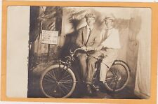 Real Photo Postcard RPPC - Advertising - Two Men on Indian Motorcycle