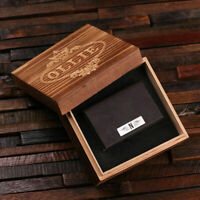 Personalized Monogrammed Leather Business Cardholder w/ Optional Wooden Gift Box