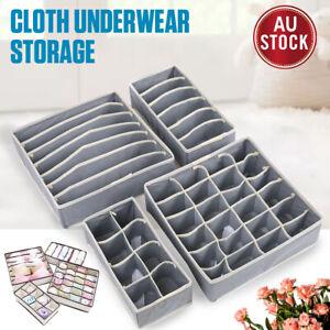 4pcs Foldable Storage Box Bra Underwear Closet Organizer Drawer Divider Kit