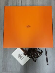 "HERMES Orange Empty Gift Storage BOX w/Tissue Paper Ribbon 12""x14""x4"""