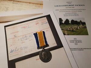 WW1 British War Medal Cpl Jackson 1/5th Gloucestershire, Died, Gloucester Man