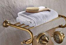Antique Brass Bathroom Towel Rail Holder Rack Bar Shelf Wall Mounted mba484