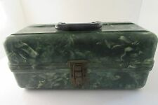 Plano Plas-Tak Green Marble Swirl Vintage Fishing Tackle Box w Tackle Bakelite