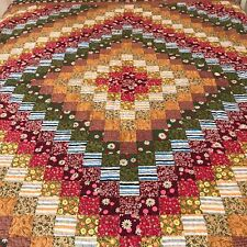 Bedspread set-Vintage Floral Patchwork Quilt-3PC set Cotton-Hand Made-Queen/King
