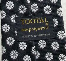 Vintage TOOTAL Tie Mens Wide Necktie Retro Fashion BLACK WHITE