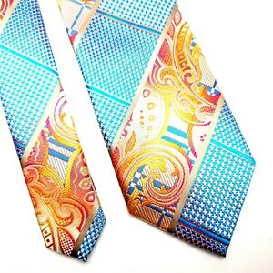 Stacy Adams Microfiber Abstract Blue Orange Tie Woven