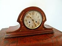 Antique Early 20th Century Shell Inlay Mahogany 8 Day Chiming Mantel Clock (Key)