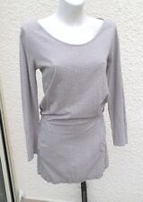 Robe ou Tunique  Manches Longues Marron Clair Fleurs Ecru Seventeen Taille 2