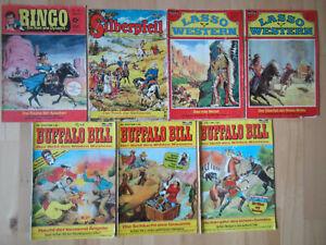 Lasso, Buffalo Bill, Ringo, Silberpfeil - Konvolut 7 Comichefte Western