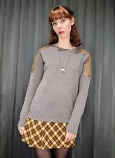 ALL SAINTS Women's Taupe Brown Leather Shoulder Panel Jumper Sweater Aus 8 XS