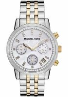 NEW MICHAEL KORS MK5057 LADIES TWO TONE MOTHER OF PEARL WATCH - 2 YEARS WARRANTY