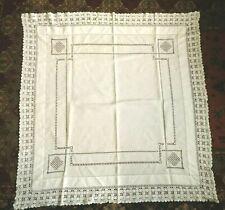 Hand Made Drawn Thread and Hand Crochet Edge Linen Tablecloth