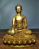 "9.2 ""Bouddhisme Tibet cuivre doré siège Shakyamuni Amitabha Bouddha Robe Statue"