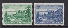 More details for norfolk islands 1947-59 3d & 2/- white paper pair sg 6a & 12a mnh.