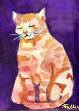 ACEO Orange Kitty Original Watercolor Cat Painting K Fuller ATC 2.5
