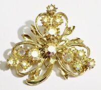 broche bijou vintage treffle 3 feuilles cristaux boréalis couleur or *3230