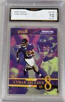 $100- 2018 LAMAR JACKSON FIRST NFL PRO ROOKIE GMA GRADED 10 ROOKIE CARD RAVENS.