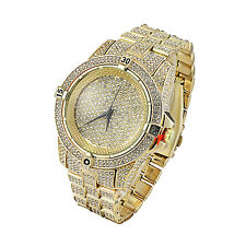 Gold Tone Mens Watch Lab Diamonds Iced Out Hip Hop Bling Analog Techno Pave