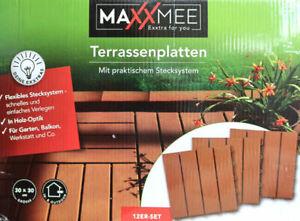 Terrassenplatten Holz-Optik von MAXXMEE Klick Bodenplatten Stecksystem NEU *
