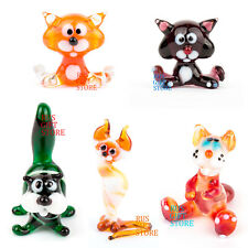Blow Glass Figurines Cat Various Handmade Russia Art