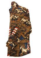 VTG Men's Bit & Bridle Wild Horses & American Flags Graphic Print Flannel Sz XL