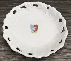 Antique Victorian Souvenir Plate Of Swan & Shield From Swanage Dorset