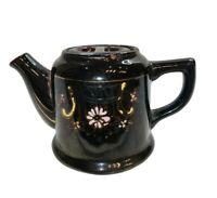 "Vintage 3.5"" H Brown Moriage Redware Tea Pot 2.5 Cup Teapot Made in Japan."