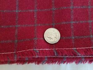 Dark Red Gray Check Fabric Wool 2.5 YARDS