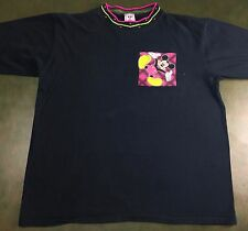 Vintage Mens XL 80s 90s Disney Mickey Mouse Graphic Black Funky Collar T-Shirt