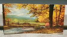 """October Gold Lithograph by Robert Wood Autumn River Landscape Vintage 24"""" x 12"""""""