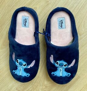 Disney Lilo & Stitch Blue Slipper Cosy Indoor Slip On Ladies Mules Size 7-8 NWT