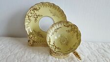 Gorgeous Gold Encrust Scallop Edge Gold Trim Hand painted Tea Cup and Saucer EUC