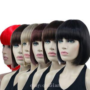 Women Short Straight Bob Hair Wigs Natural Human Hair Party Cosplay Full Wig