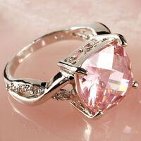 Pink & White Gemstone Fashion Jewelry Women Gift Silver Ring Size 6 7 8 New