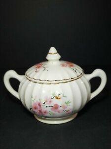 W.S. George Covered Sugar Bowl With Lid Peach Blossom Bolero 22kt Gold Trim
