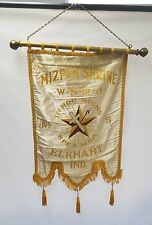Antique 1900s Mizpah Shrine W.S. of J banner embroidered silk rare!
